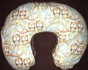 Boppy Nursing Pillow Cover with Zipper Closure Owls/Brown Minky