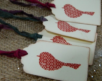 Speckled sparrow - Cranberry - Set of 10 tags