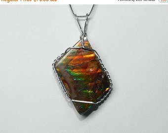 Ammolite Pendant in Silver, 23 x 18 mm