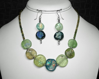 Roman Glass and Tourmaline Necklace and Earring Set in Silver, 17""