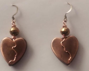 Heart #Copper #Genuine #Wrap #Crystal #Faceted #Antique #Gold #Heart #Earrings