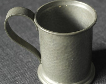 antique turn of the century beaten pewter small size tankard