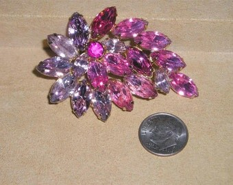 Vintage Pink And Lavender Marquise Rhinestone Brooch 1960's Pin Jewelry 2293