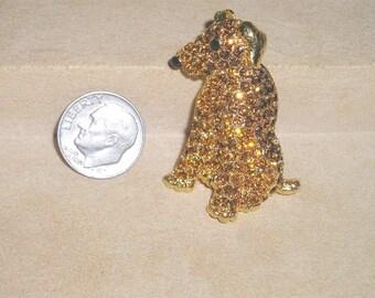 Vintage Signed Trifari TM Rhinestone Sitting Dog Brooch Pin Pup Pooch 1990's Jewelry K7