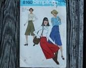 Simplicity 8160 1970s 70s Culottes Gauchos Pants Vintage Sewing Pattern Size 12 Waist 26.5