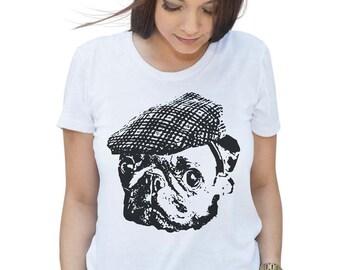 Pug In A Hat T Shirt - American Apparel Tshirt - S M L Xl (Color Options)