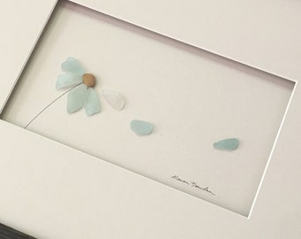 12 by 16 sea glass daisy by sharon nowlan
