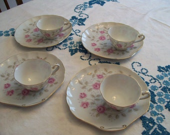 Vintage Luncheon Set Pink Floral Set of 4 Cups and Plates Yada Made in Japan