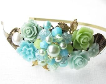 Haarreif,vintage,hair band,head band,Wedding,Bridal Headband,blue Hairband, Floral Head Piece, Romantic Flower, Boho Wedding, Woodland Chic