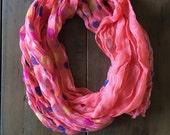 Peach-Pink polka dot scarf
