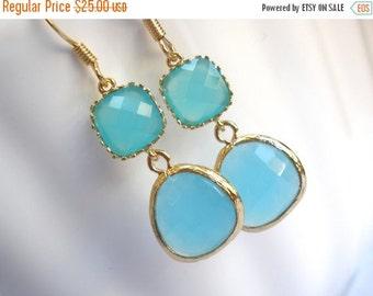 SALE Blue Earrings, Aqua Blue Earrings, Gold Earrings, Mint Earrings, Bridesmaid Earrings, Bridesmaid Jewelry, Bridal Jewelry, Bridesmaid Gi