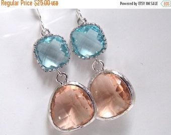 SALE Peach Earrings, Champagne Earrings, Aquamarine Earrings, Aqua, Blue, Glass Earrings, Silver, Bridesmaid Earrings, Bridal, Bridesmaid Gi