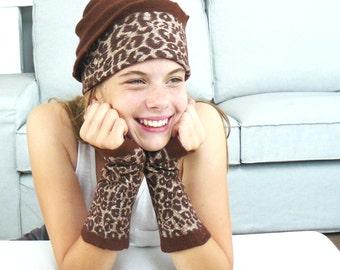 SALE Nuno Felted Hat Merino wool and fingerless gloves, leopard design, women accessories, handmade
