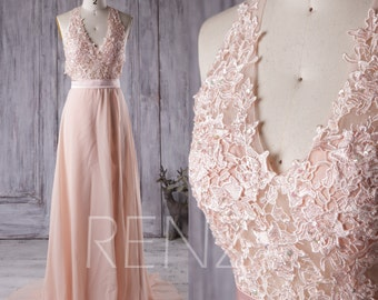 2016 Peach Bridesmaid Dress, V Neck Halter Wedding Dress, Lace Prom Dress, Chiffon Evening Gown, Backless Formal Dress Floor Length (X007)