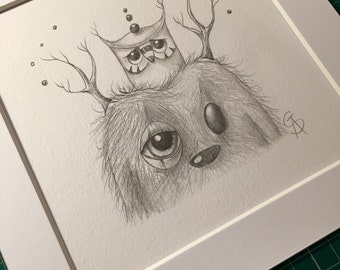 "Original pop surreal sketch graphite on paper by Olivier Castillon ""hiboo & troll"""