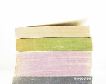 Peaceful Art Print - An afternoon in Tokyo - Fine art photo of vintage books, beige, green, olive, purple, pink, lilac, 8x8, 8x10