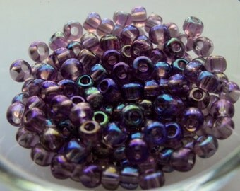 6/0 Translucent Amethyst Purple AB  Seed Beads, 4mm, Czech, Preciosa, 20 grams (270 - 300 Beads) CLEARANCE SALE!!