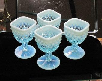 Vintage PreLogo Fenton Square Blue Opalescent Hobnail Set of 4 Wine Glasses - FREE SHIPPING