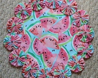 Summer Watermelon Yo Yo Doily - 12""