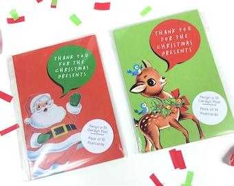 SALE - SEL - Pack of 10 English Thank you Christmas Postcard Santa Reindeer