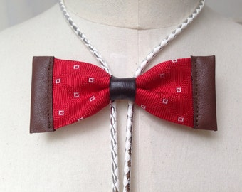Red silk bow tie with leather and white/silver leatherette bolo cord (B16)