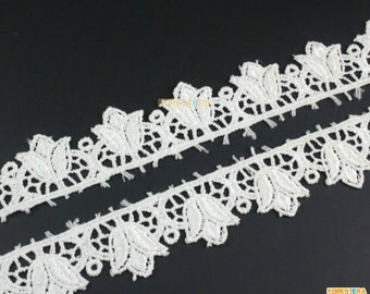 Terylene Lace Trim White Floral Lace Ribbon Flower Lace Trim 2.3cm Width -- 2 Yards (LACE366)