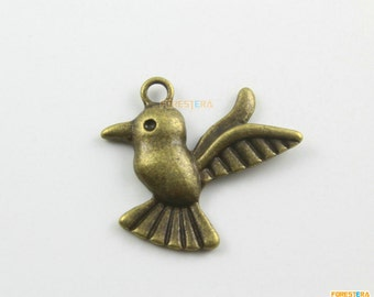 20Pcs Antique Brass Bird Charm Bird Pendant Pigeon Pendant 26x23mm (PND1277)