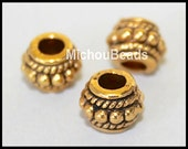 25 ANTIQUED Gold 8mm Tibetan Style DRUM Spacer Bead - 8X6mm w/ Large 3.4mm Hole Boho Nickel Free Metal Beads - Instant Ship from USA - 5732