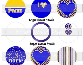 INSTANT DOWNLOAD Blank Royal Blue Yellow  Gold School Mascot  1 inch Circle Bottlecap Images 4x6 sheet