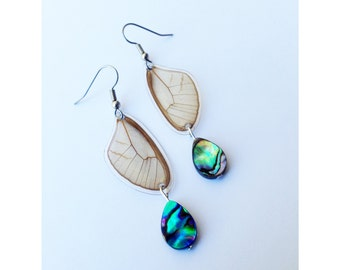 Real butterfly wing earrings - Butterfly Jewelry, Nature Jewelry, Dangle Earrings, Lightweight, Abalone Shell, Nature, Beach Jewelry