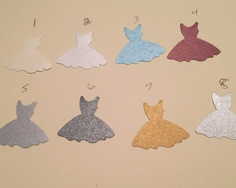 12  card stock Wedding dress, party dress or ballerina  hand punched die cuts, punches you choose color by number, 1.5 tall x 2 inch wide