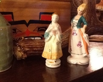 Vintag Pair Porcelain Lady Figurines, one English, one Occupied Japan