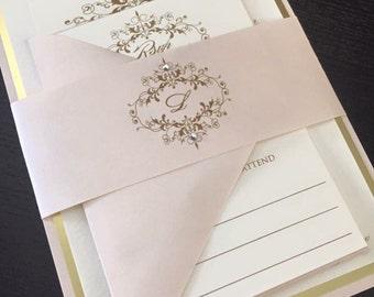 Wedding Invitation - Gold Wedding Invitation - Blush and Gold Wedding Invitations