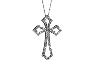 Modern Cross Pendant Necklace in 14k White Yellow Rose Gold 1.20 ct tw | made to order for you within 5-7 business days
