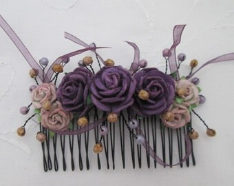 Hair comb purple lilac roses roses beads ribbons bridal wedding prom