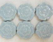 Handmade Decorative  Ceramic Tiles Rosette  Pattern set of 6 Sky Blue