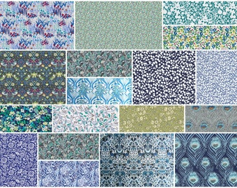 """36 Liberty print blue and green charm pack, 5"""" patchwork squares"""