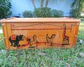 Vintage Wood Toy Box 1950s Circus Theme Rare Wood Toy Box Clown Toybox