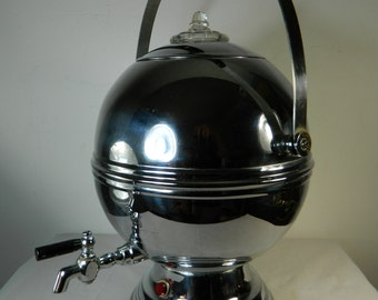 Vintage Art Deco Coffee Percolator Coffee Dispenser Modern Chrome Egg Labelle Coffee Pot