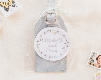 Wedding Favors - Floral Wreath Leather Luggage Tags