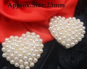 ON SALE Pearl Heart Button Valentine's Day Ivory Pearl Set In Silver Tone Metal Heart Buttons Embellishments For Hair Bow Centers Wedding Bu