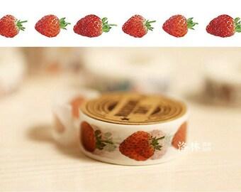 Japanese Washi Masking Tape - Large Strawberry 02 - 11 Yards
