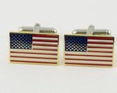 American Flag Cufflinks -- Gold Rim