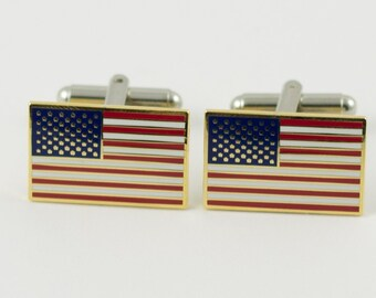 American Flag Cufflinks -- Gold Rim