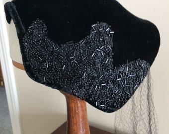 Vintage Ladies Beaded Black Hat
