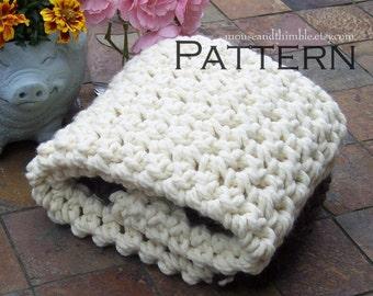 "Crochet Photo Prop Chunky Baby Blanket Beginner PATTERN 24"" x 21""/(61 x 53) cm - PDF 2421"