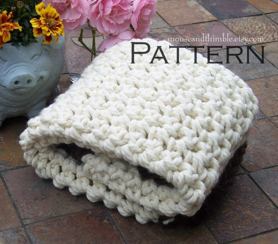 "Crochet Photo Prop Chunky Baby Blanket Beginner PATTERN 24"" x 21""/(61 x 53) cm - PDF 2421"
