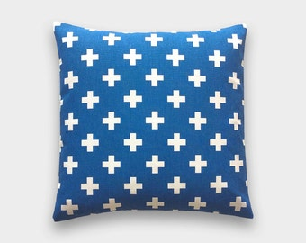 25% OFF Cobalt Blue Swiss Cross Decorative Pillow Cover. 18X18 Inches. Royal Blue Plus Sign. Throw Pillow Cover.
