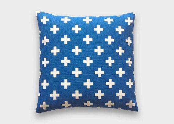 Cobalt Blue Throw Pillow Covers : Cobalt Blue Swiss Cross Decorative Pillow Cover. 16X16 Inches.
