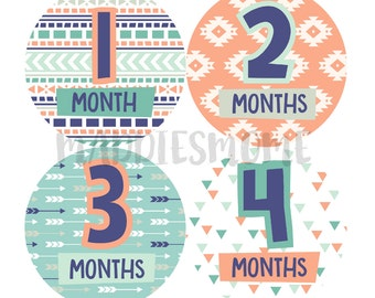 Monthly Baby Stickers Gender Neutral Trendy Arrows Coral Mint Navy (Aztec Tribal)